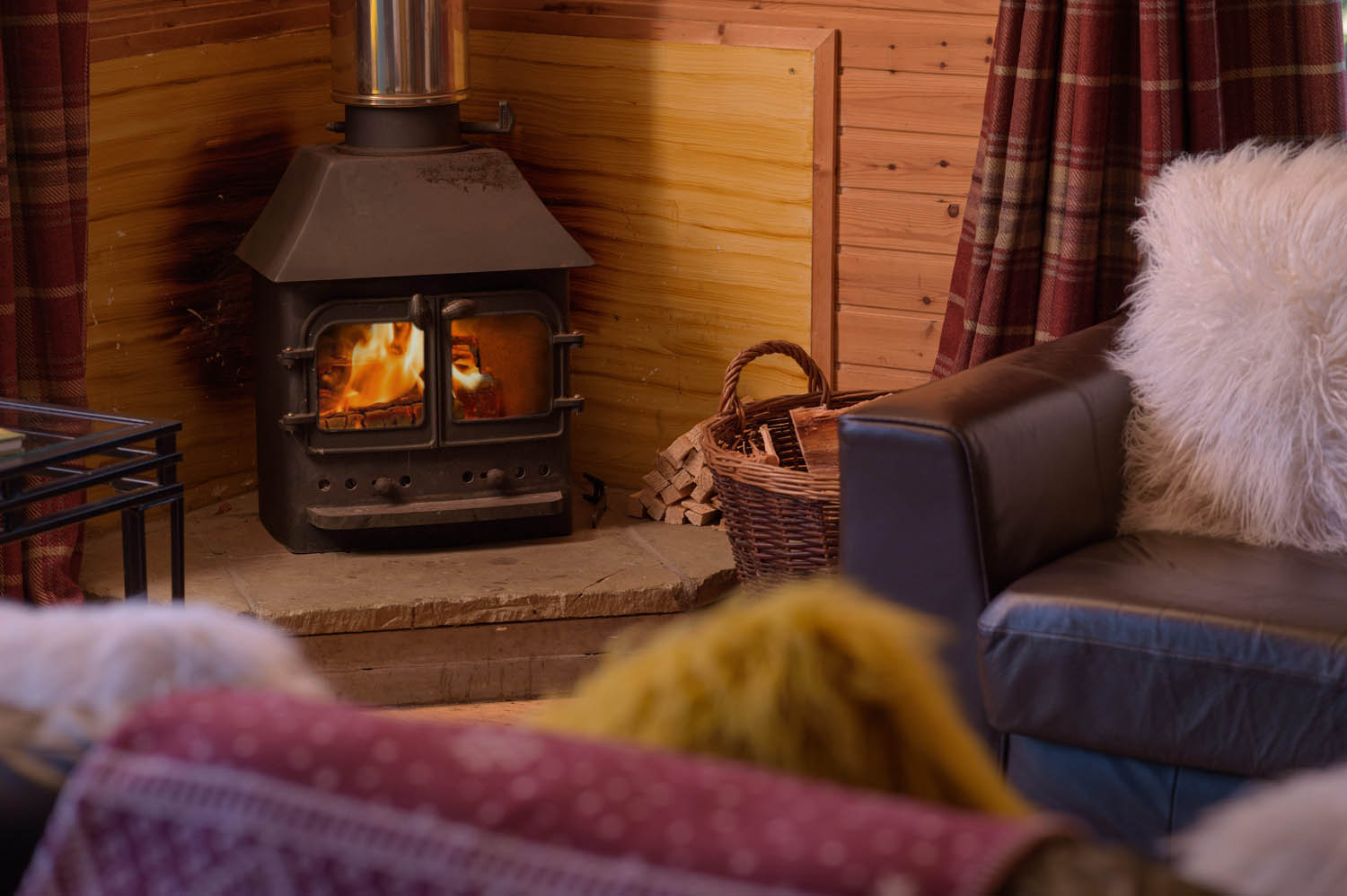 Holiday lodge with woodburner in Scotland | Woodend of Glassel
